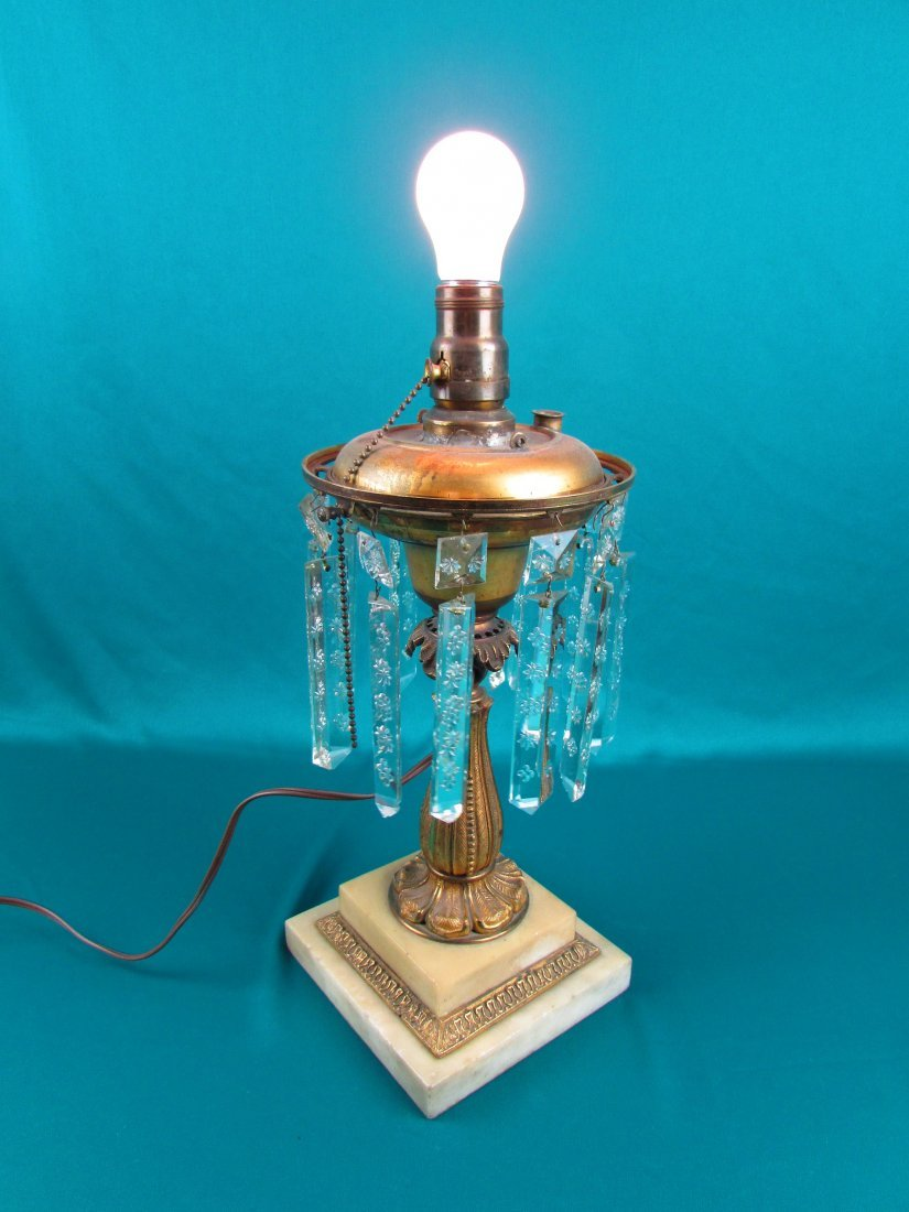 Victorian Brass Bronze Etched Glass Astrgal Oil Lamp - 2
