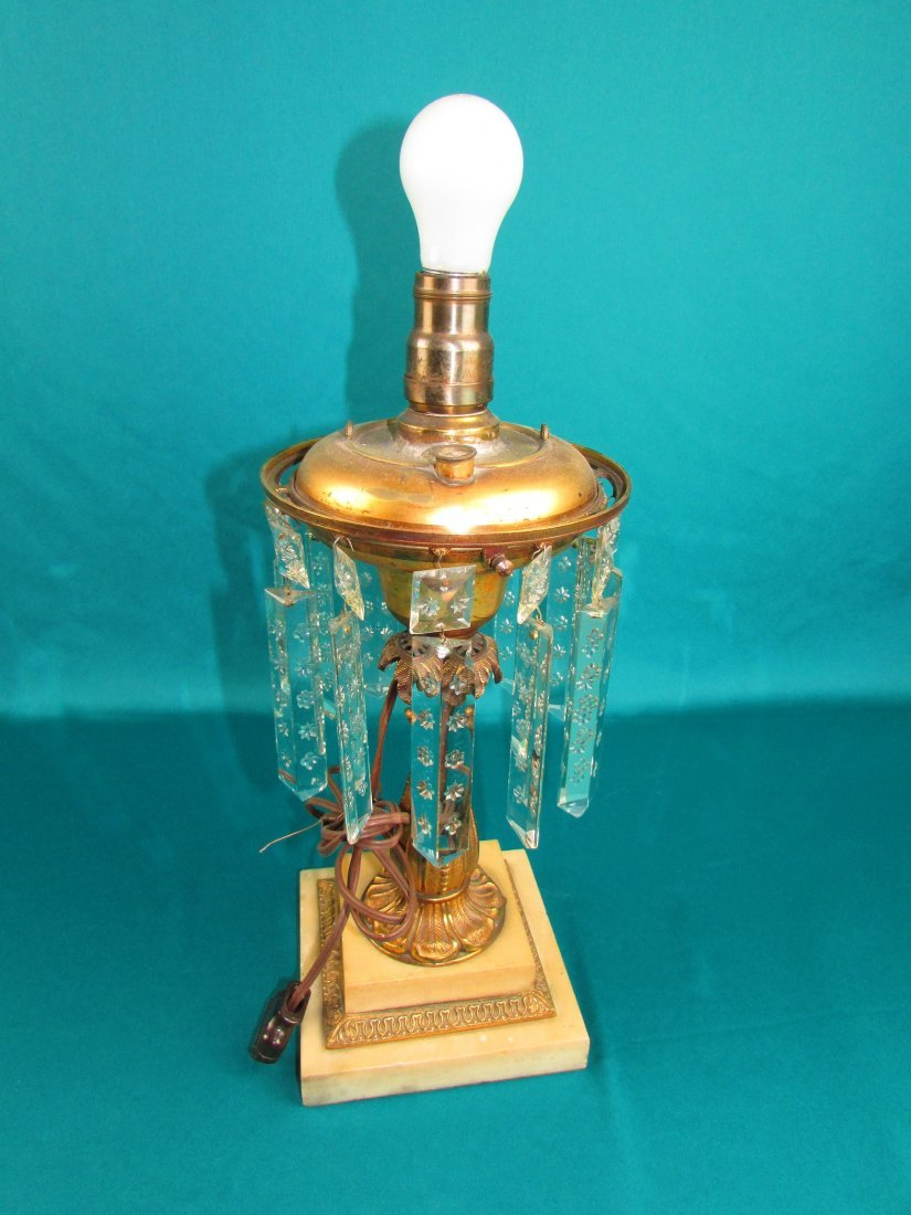 Victorian Brass Bronze Etched Glass Astrgal Oil Lamp - 6