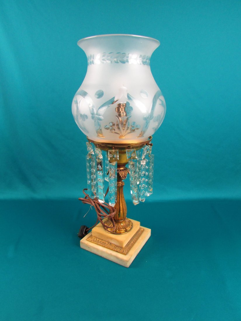 Victorian Brass Bronze Etched Glass Astrgal Oil Lamp - 7