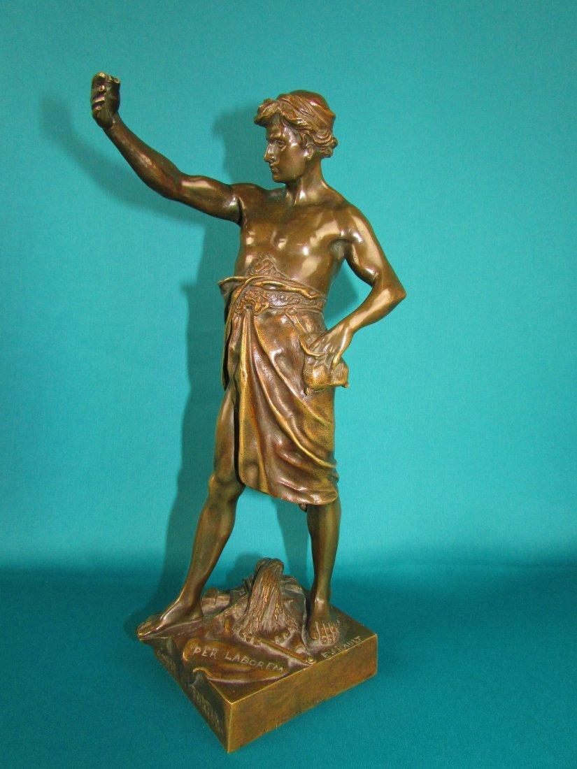 Emile Louis Picault, Bronze Figure A Gloire et Fortune