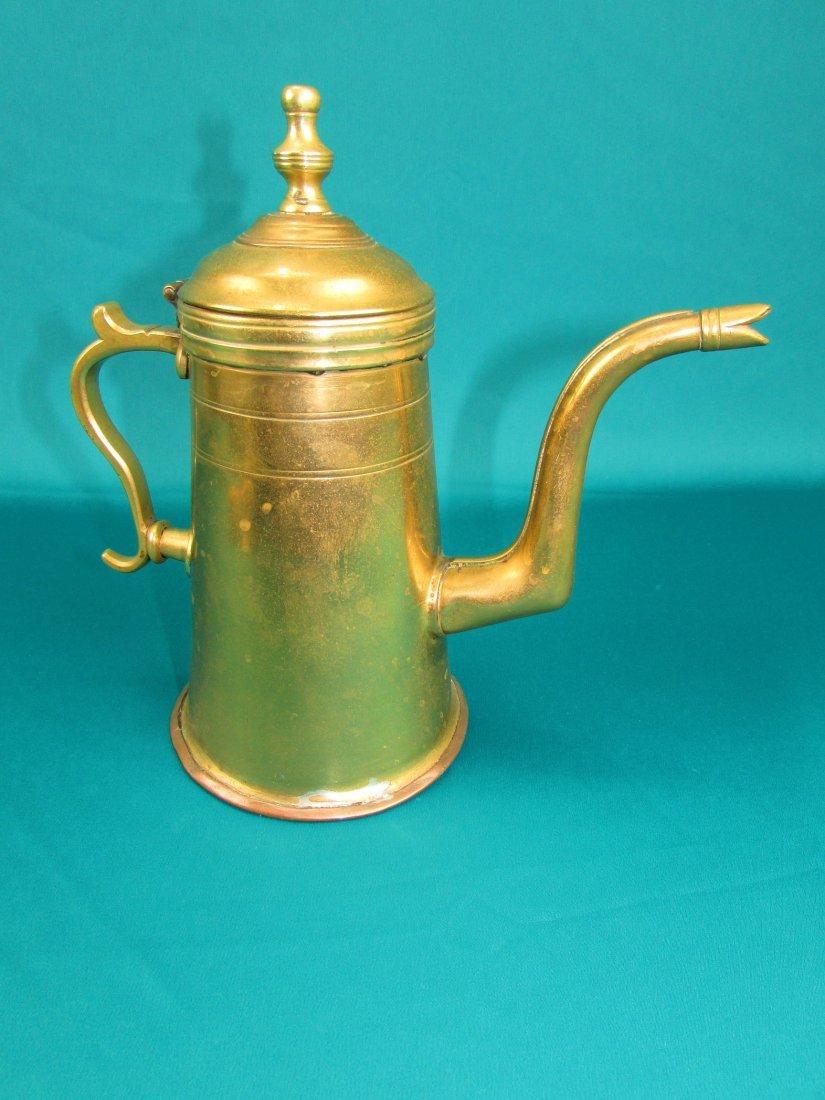 Late 18th century Dutch lighthouse brass coffee pot