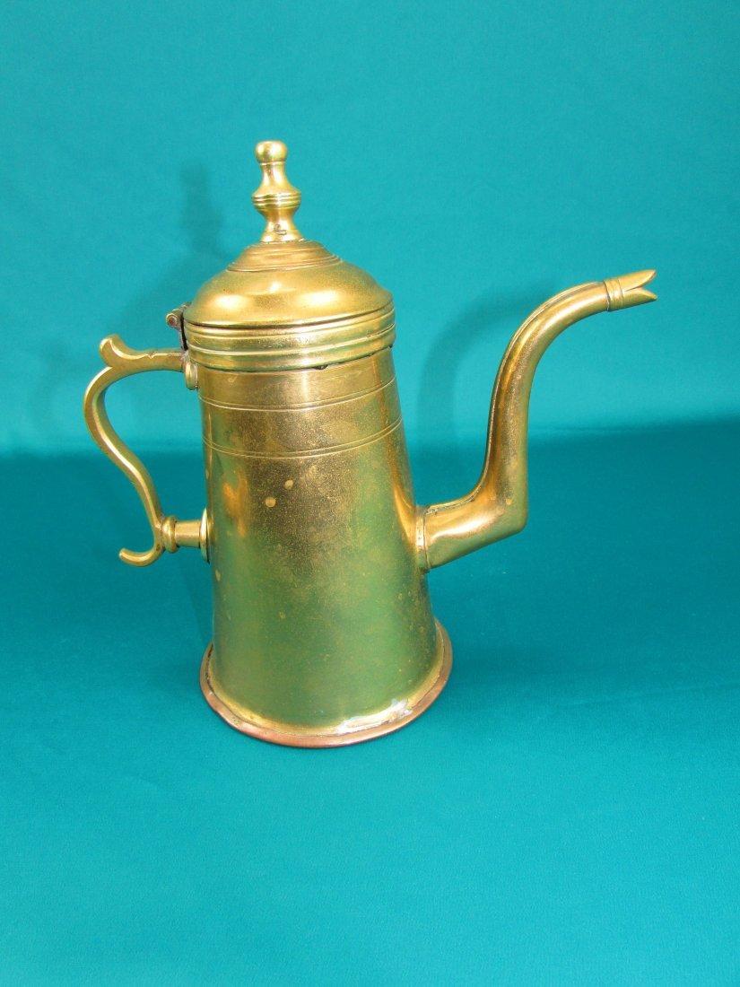 Late 18th century Dutch lighthouse brass coffee pot - 7
