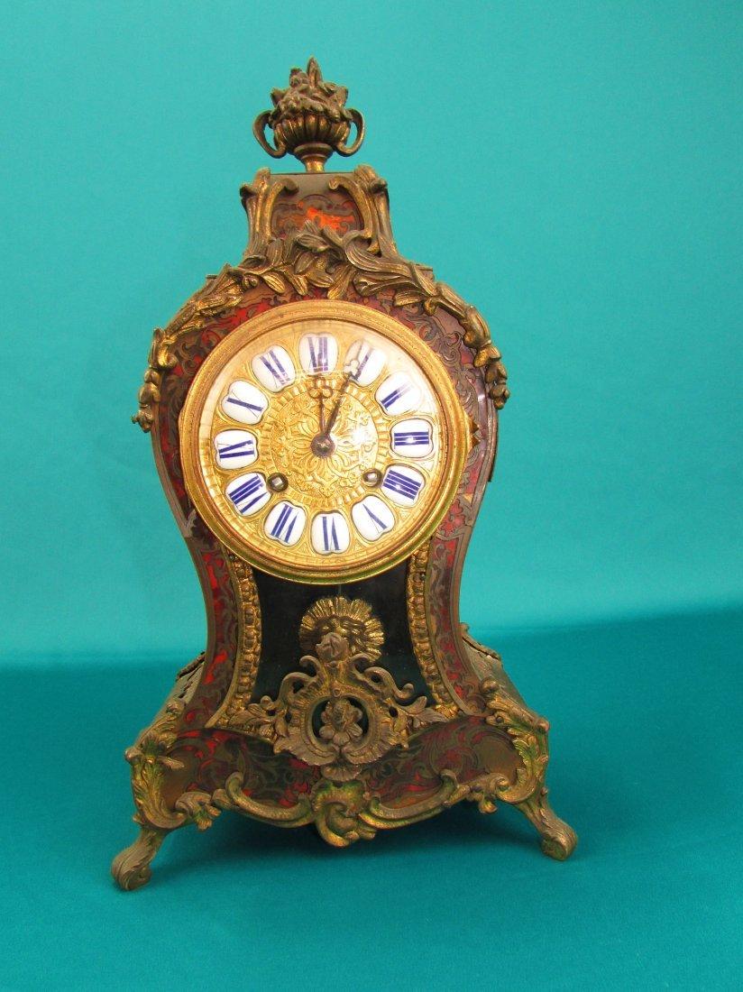 French 19th Century Boulle  Ormolu Mantel Clock