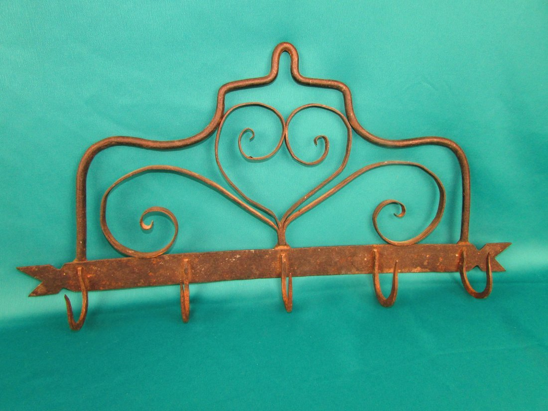 Early American Wrought Iron Utensil Hanger 18th Century