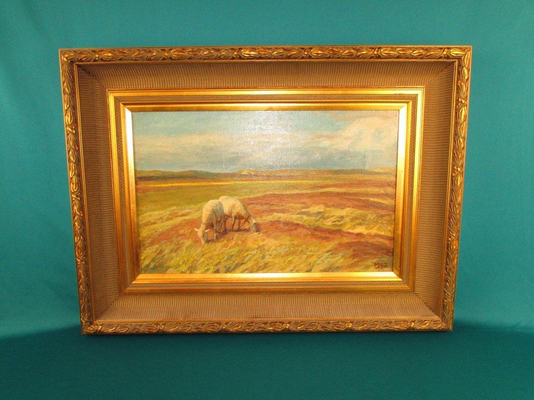 20th Cent. Marius Jensen Hindevad Oil Painting Danish