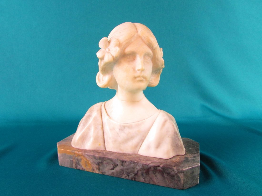 19th Cent. Italian Art Nouveau Alabaster Carved Bust