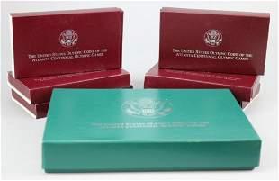 1996 U.S. Mint Atlanta Olympics 8 Coin Set 90 % Silver