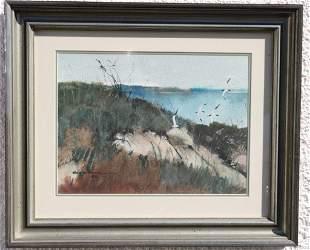 """Roy M. Mason (1886-1972) """"Seabirds"""" 1955 Watercolor"""
