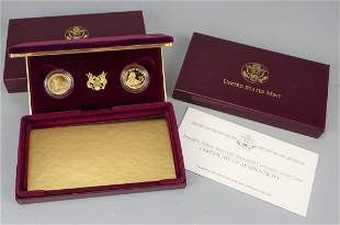 1997 FDR Roosevelt $5 Proof and Unc $5 Gold Coin Set