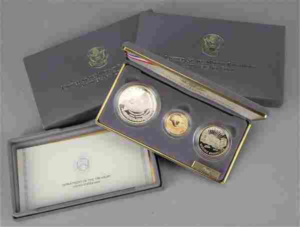1991 US Mint Mt Rushmore 3 Coin Gold Silver Set