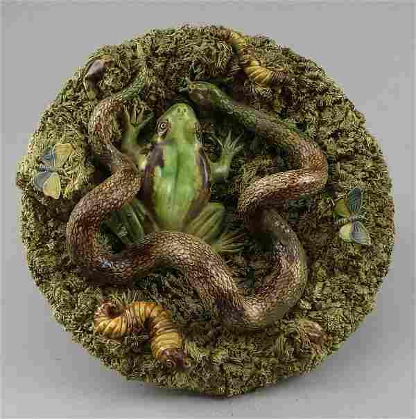 Palissy Majolica Bowl Snake Frog Caterpillar Jose A