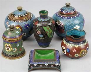 Lot of 6 19th C. Japanese Cloisonne Cabinet Pieces Vase