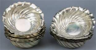12 Circular & Swirl Fluted .800 Silver Bowls Italian