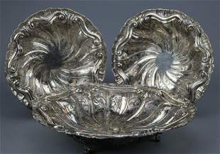 3 Repousse Swirl & Fluted .800 Silver Footed Bowls