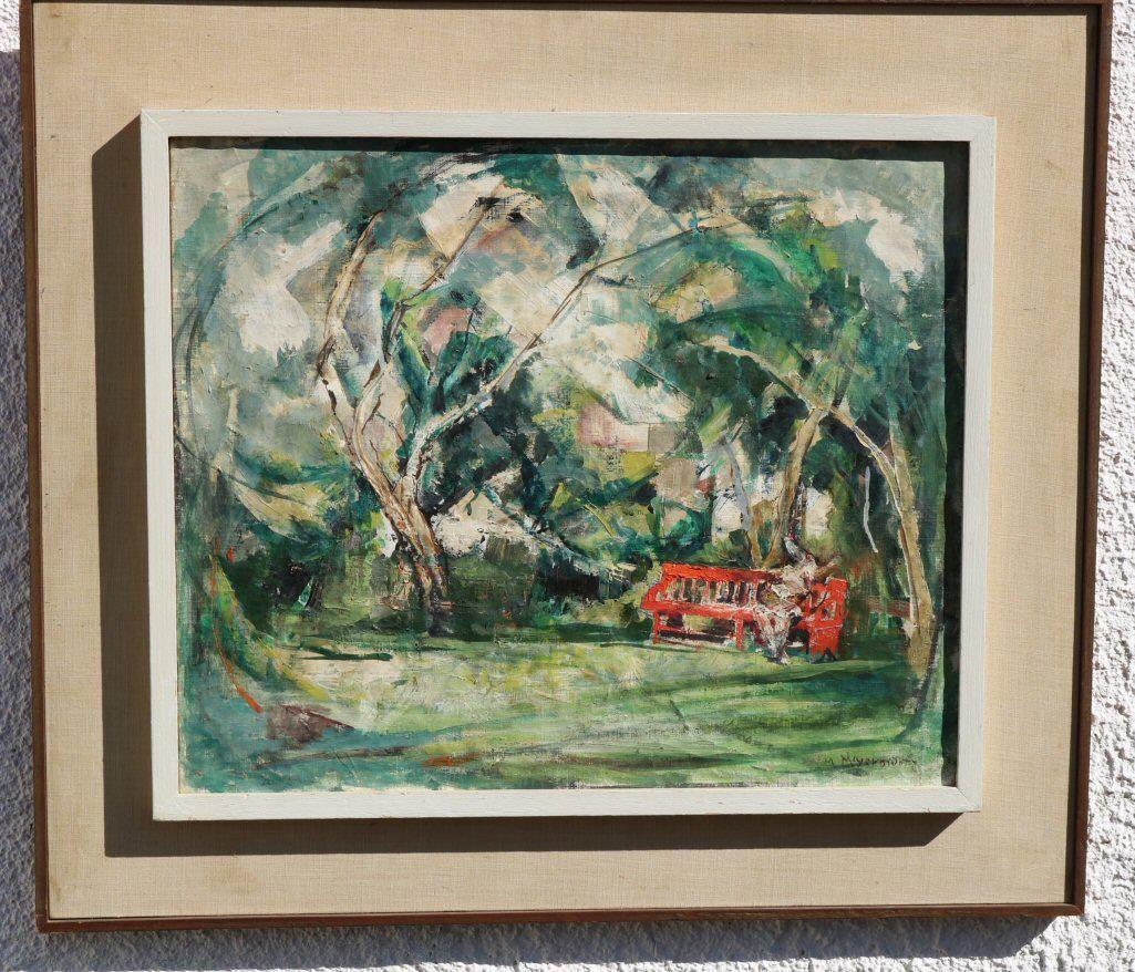 """Red Bench"" William Meyerowitz (1887-1981) Oil on"