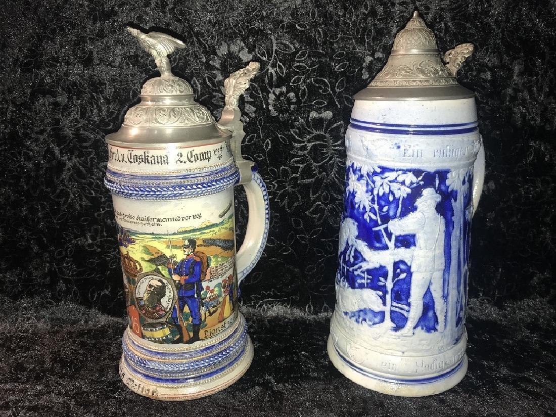 2 German Stoneware Steins