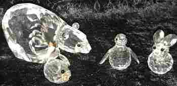 4 Swarovski Crystal Animal Figurines