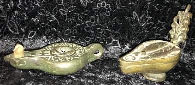 2 Roman Style Bronze Oil Lamps