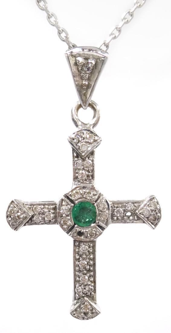 Emerald and diamond cross pendant necklace hallmarked