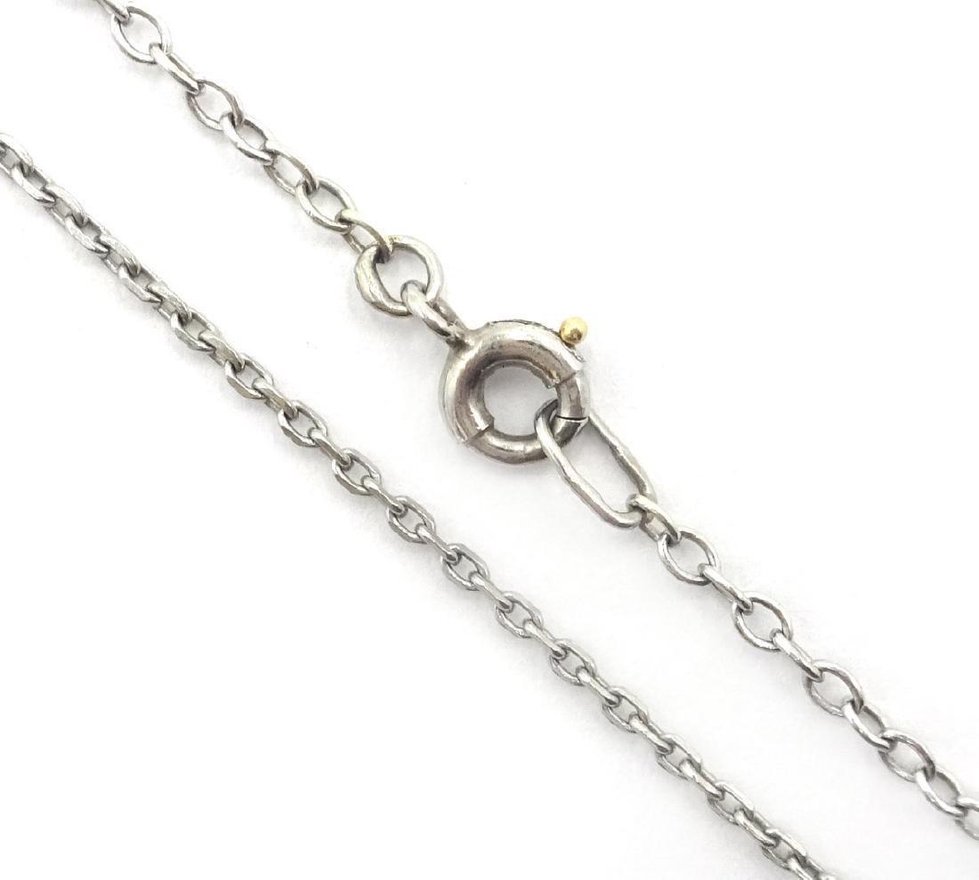 Emerald and diamond cross pendant necklace hallmarked - 2