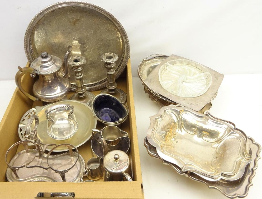 Victorian silver-plated two bottle pickle frame,