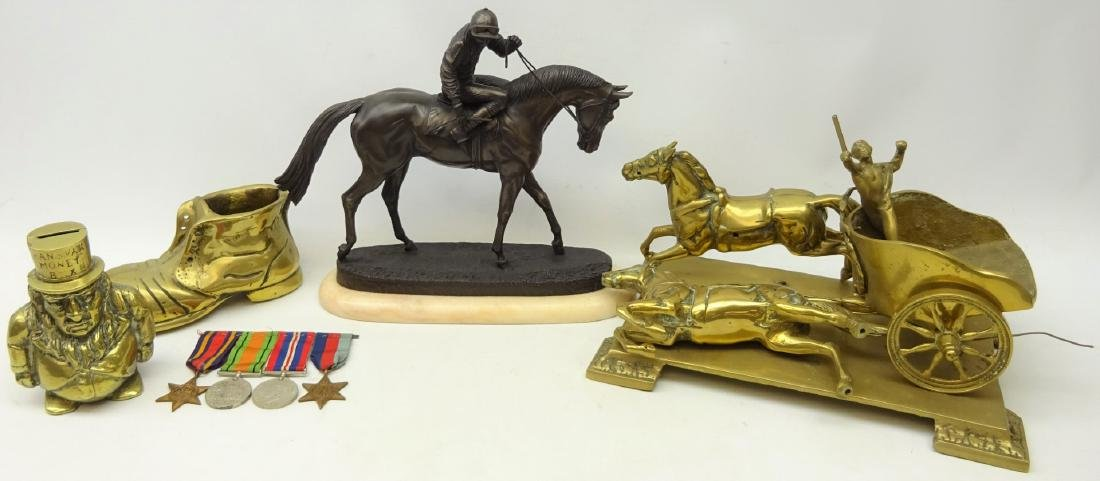 Bronzed figure of a Jockey riding a horse 'At The