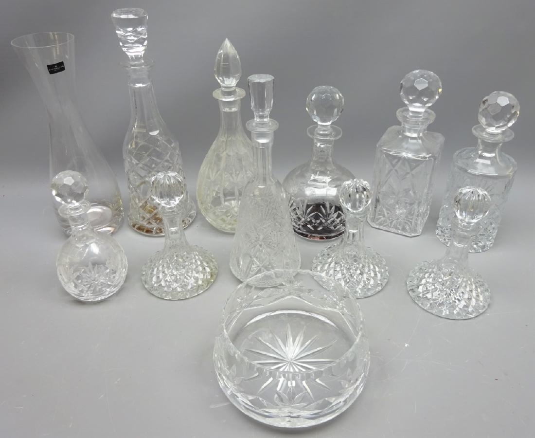 Set of three crystal liqueur decanters, crystal
