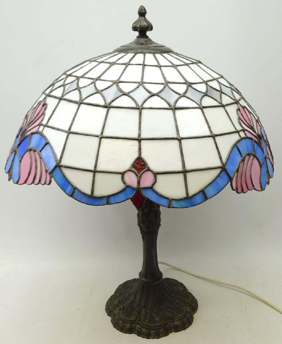 Tiffany style table lamp with leaded glass shade and