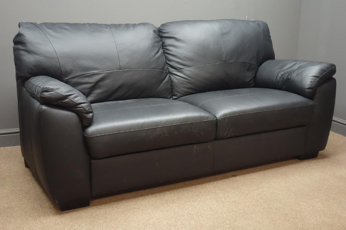 Two seat sofa upholstered in black leather, W182cm