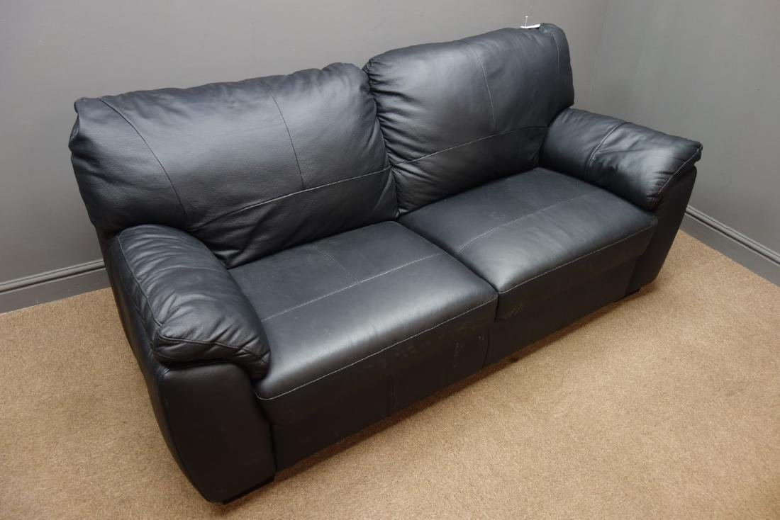 Two seat sofa upholstered in black leather, W182cm - 2
