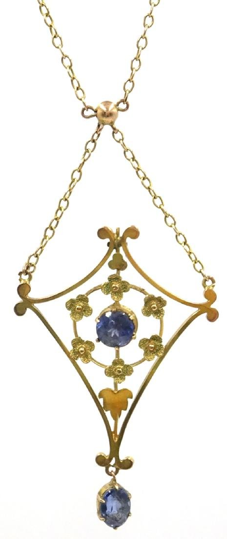 Edwardian sapphire pendant necklace, tested to 9ct