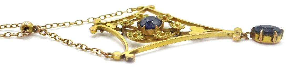 Edwardian sapphire pendant necklace, tested to 9ct - 4