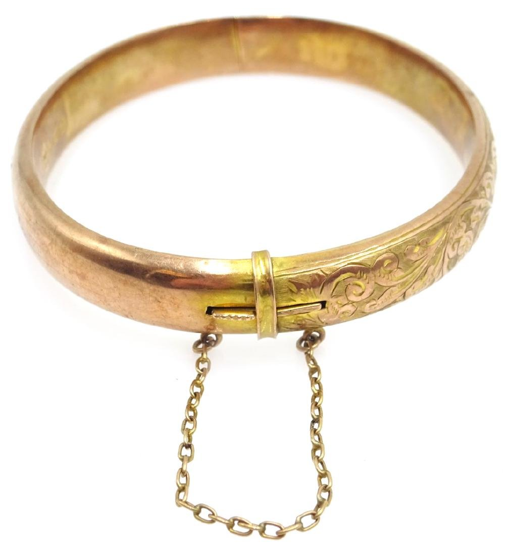 9ct rose gold hinged bangle, scroll decoration Chester - 5