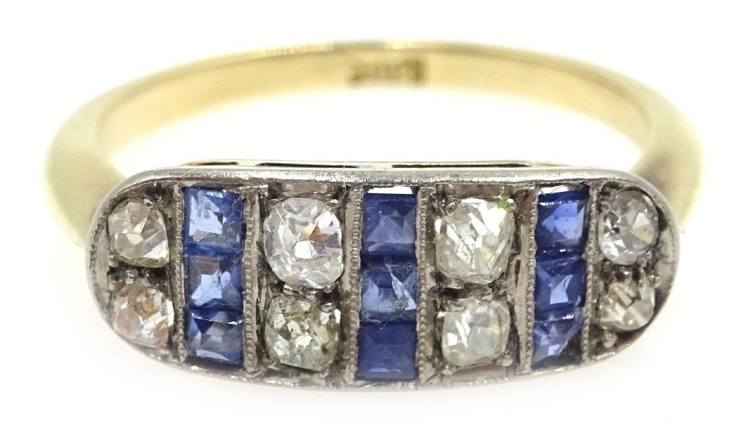 Art Deco sapphire and diamond ring stamped 18ct