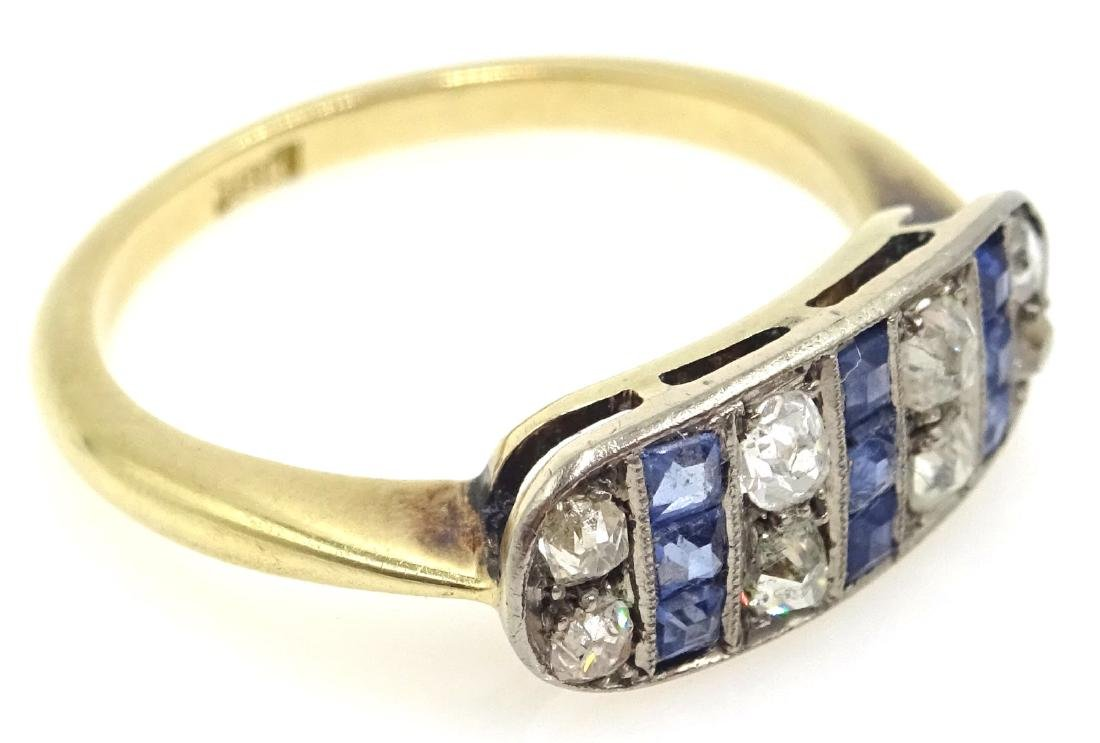 Art Deco sapphire and diamond ring stamped 18ct - 2