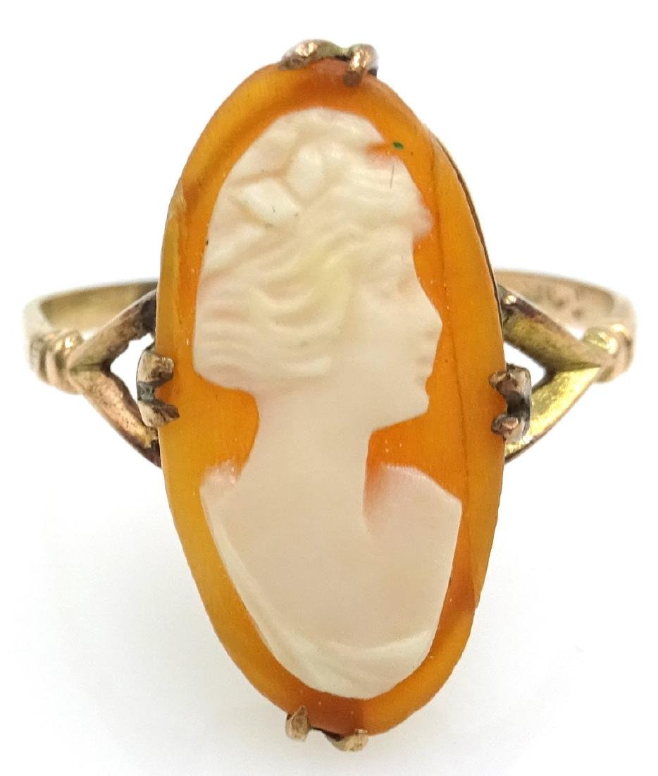 Rose gold cameo ring stamped 9ct, cameo brooch stamped - 2