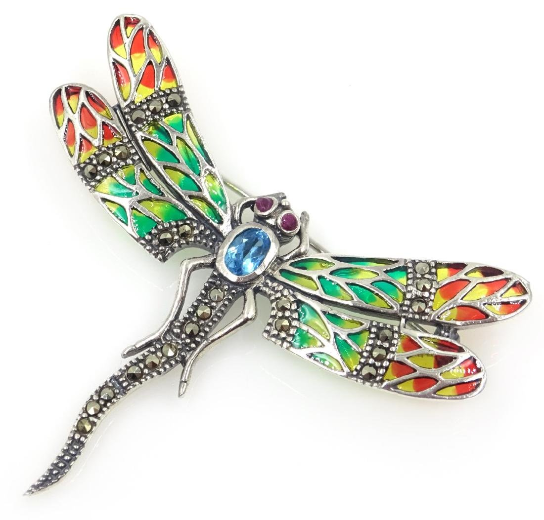 Plique-a-jour, marcasite and stone set dragonfly