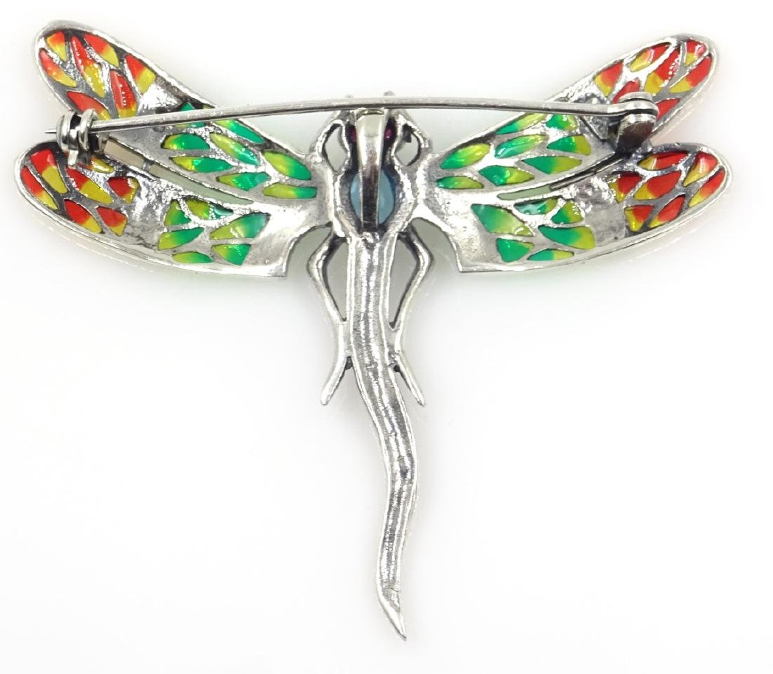 Plique-a-jour, marcasite and stone set dragonfly - 2
