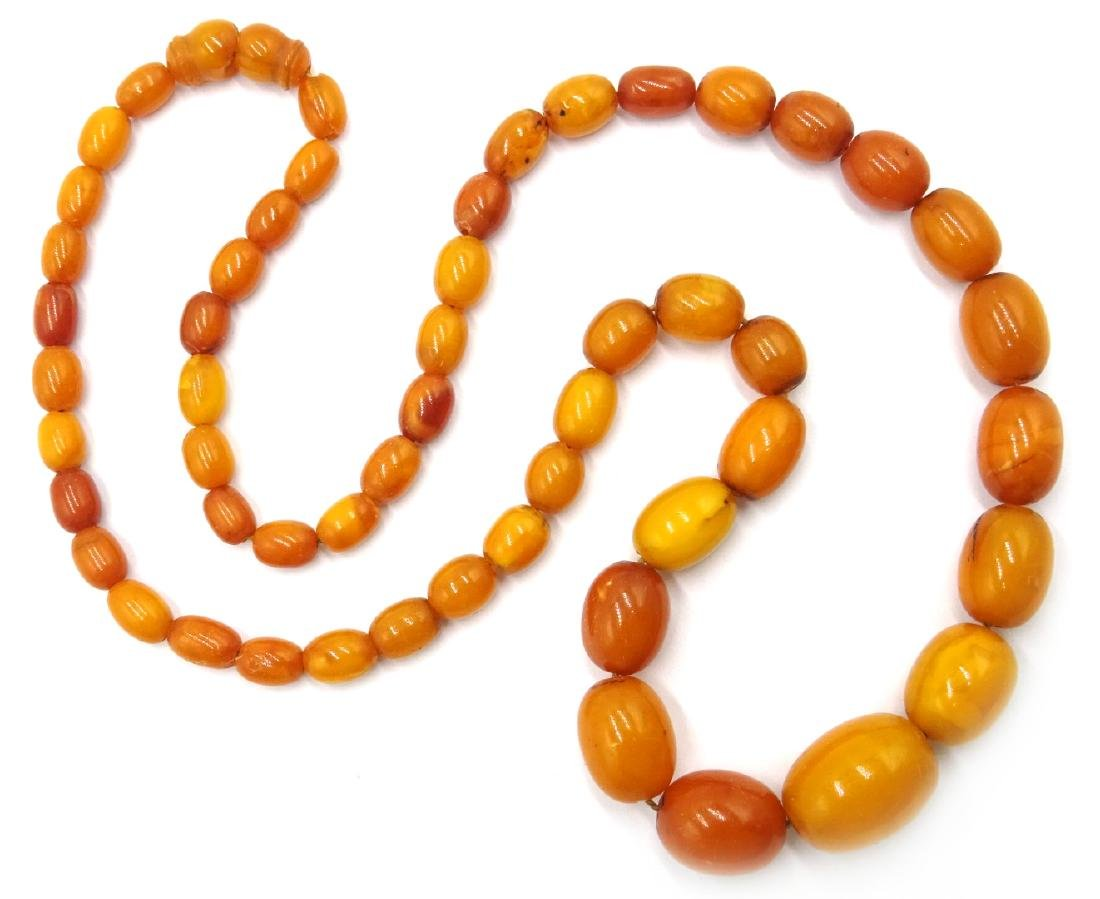 Early 20th century amber graduating bead necklace