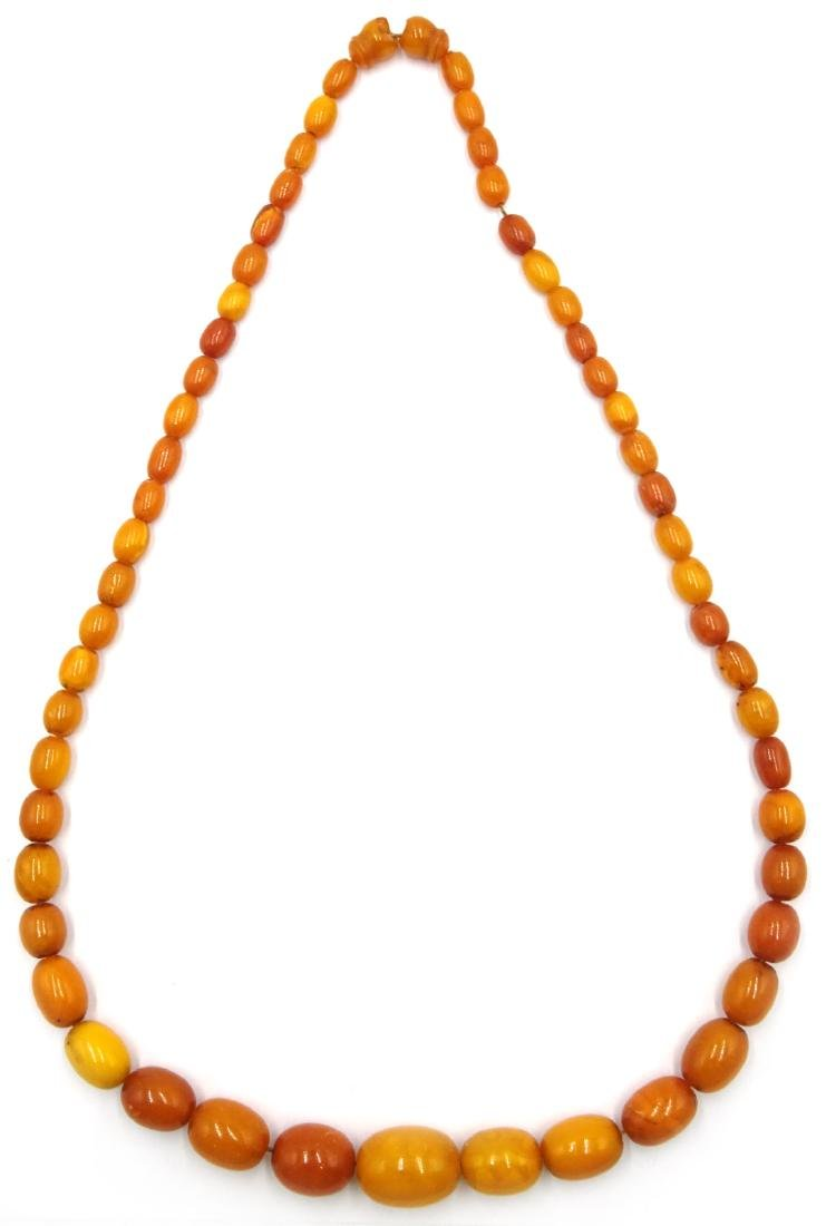 Early 20th century amber graduating bead necklace - 3