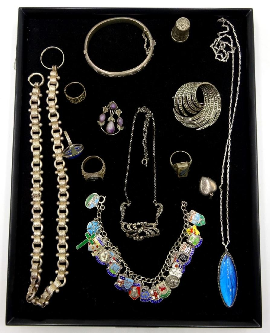 Silver marcasite brooch and necklace, rings, charm