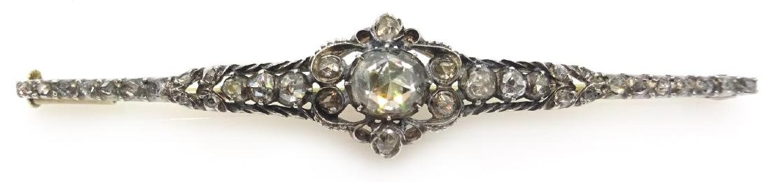 Early 20th century Dutch rose cut diamond 14ct brooch