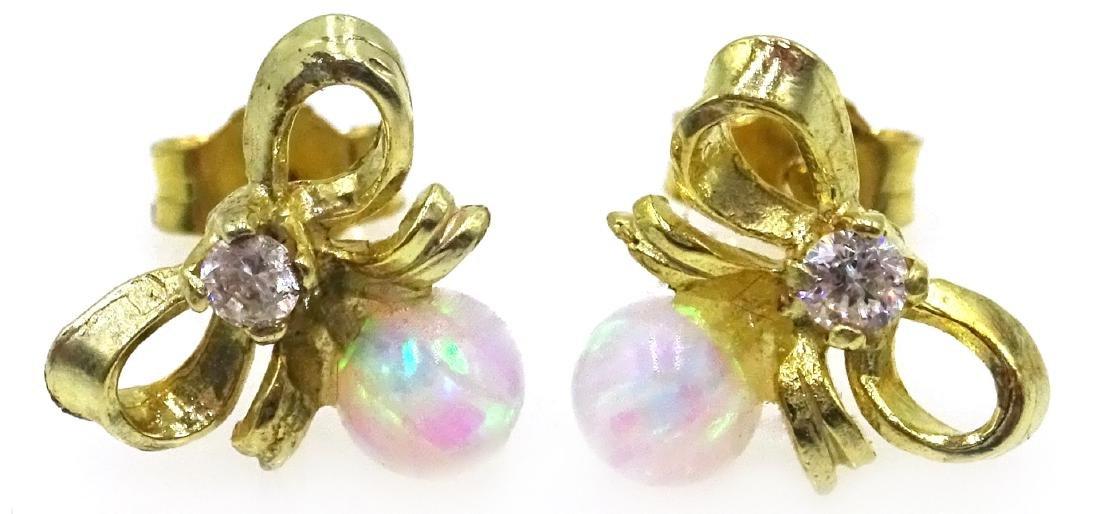 Silver-gilt opal bow ear-rings