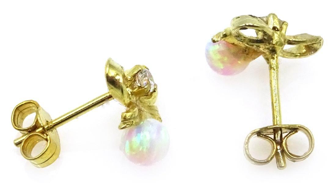 Silver-gilt opal bow ear-rings - 2