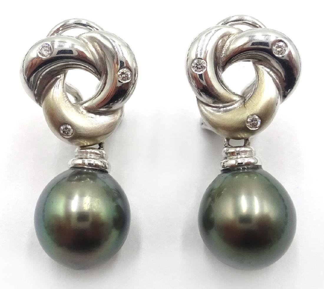 Tahitian black pearl necklace on 18ct white gold clasp - 2