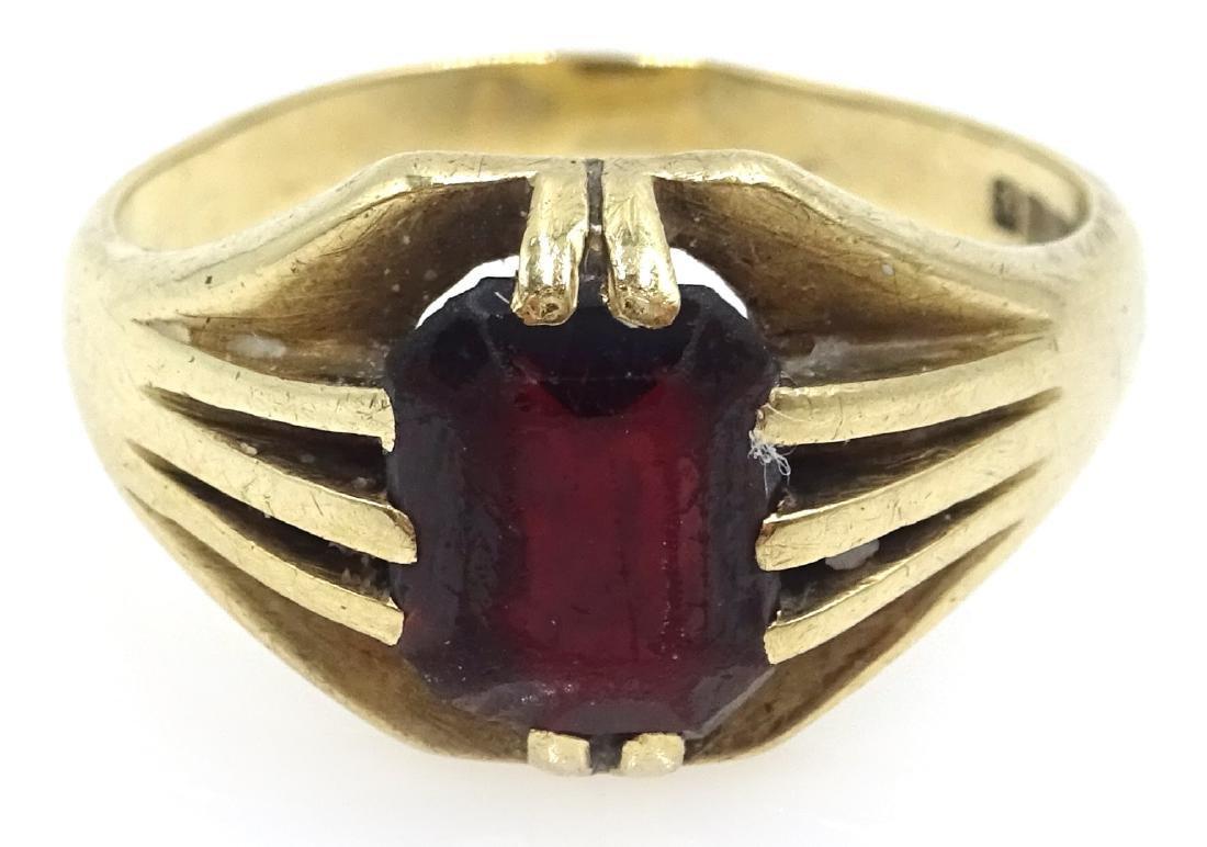 9ct gold garnet set ring hallmarked
