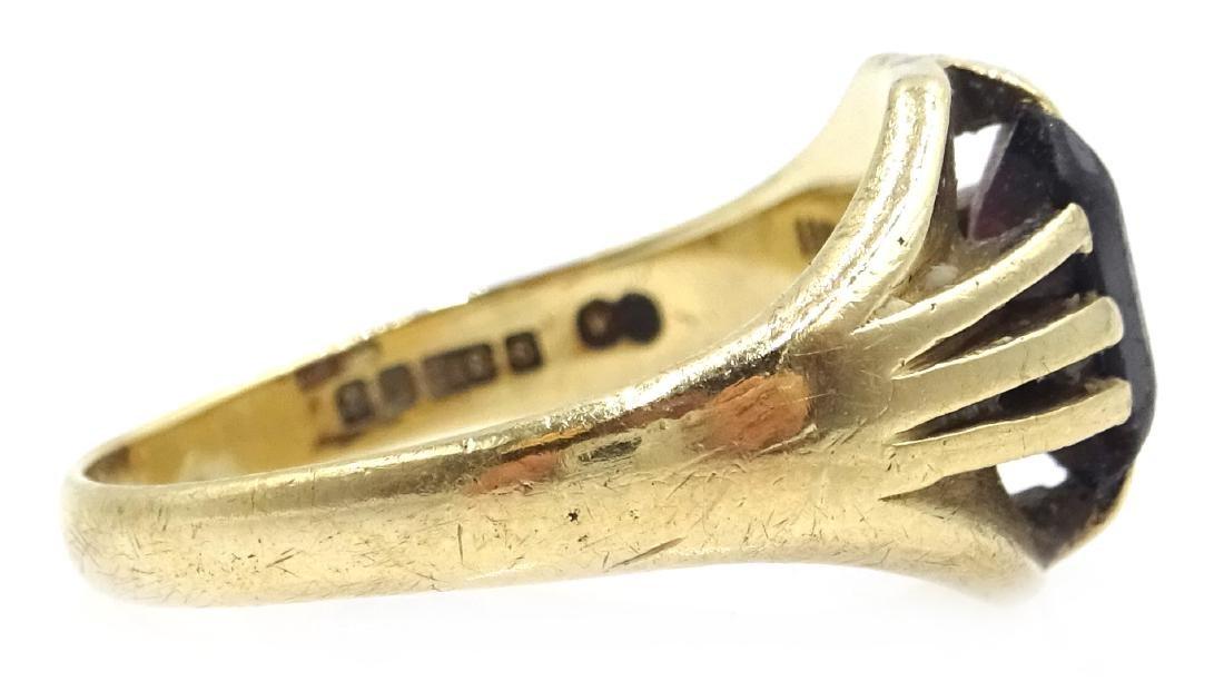9ct gold garnet set ring hallmarked - 3
