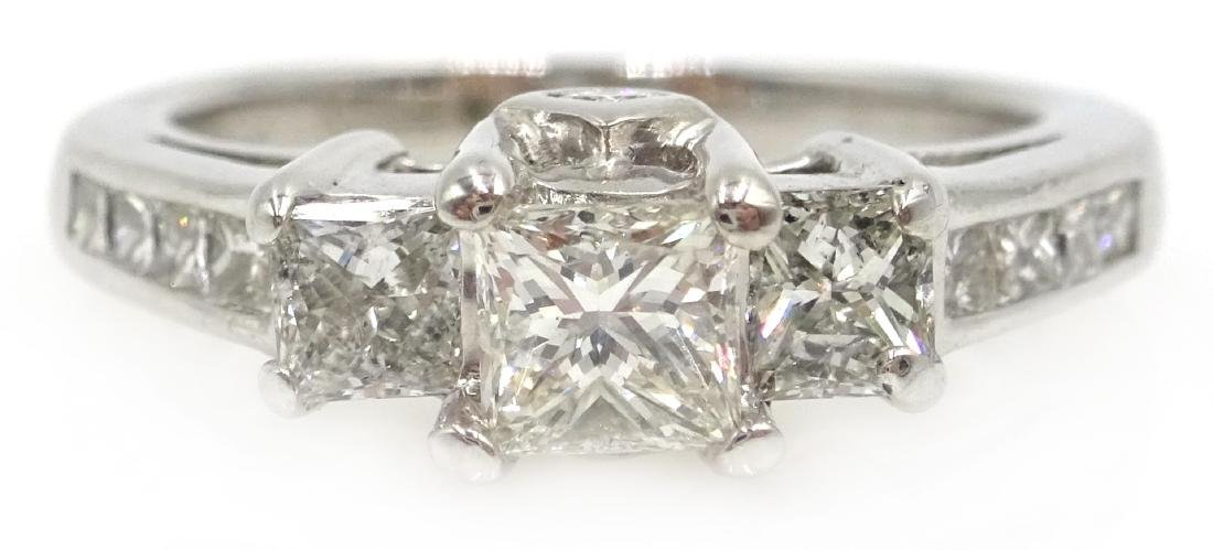 14ct white gold princess cut trilogy diamond ring with