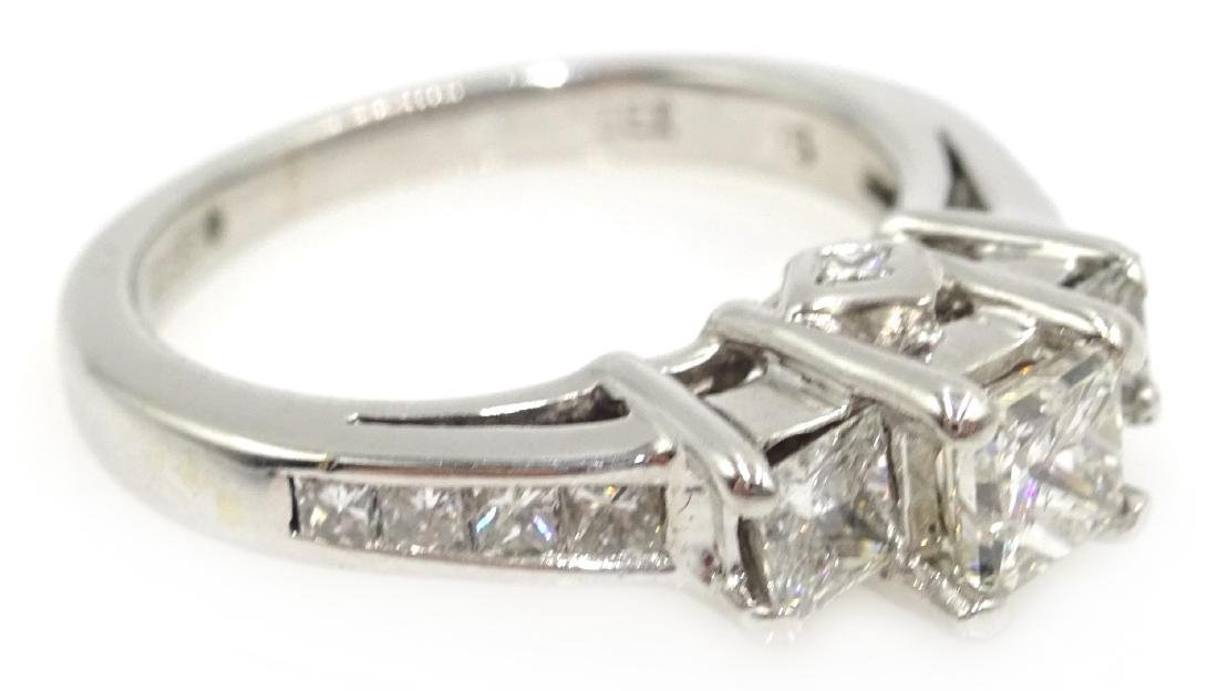 14ct white gold princess cut trilogy diamond ring with - 3