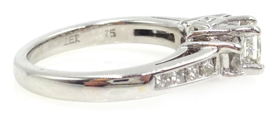 14ct white gold princess cut trilogy diamond ring with - 4